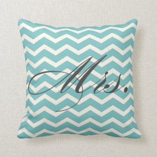 Mrs. Chevron Stripes American MoJo Pillow Cushion