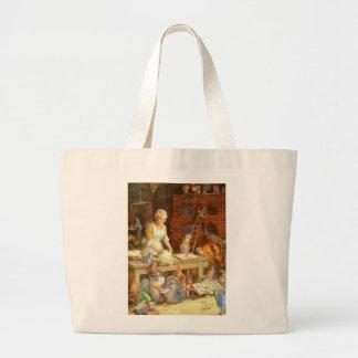 Mrs. Claus Bakes Cookies with Santa's Elves Jumbo Tote Bag