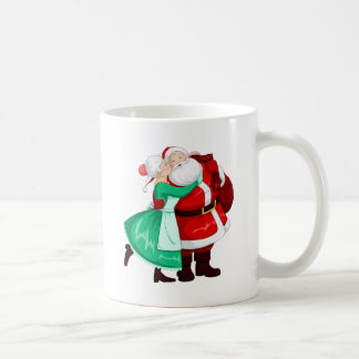 Mrs Claus Kisses Santa On Cheek And Hugs Coffee Mug