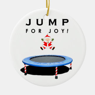 Mrs. Claus Trampolining Ceramic Ornament
