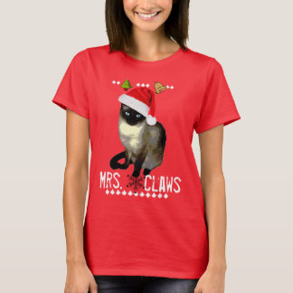 """Mrs. Claws"" Siamese cat ugly christmas shirt"