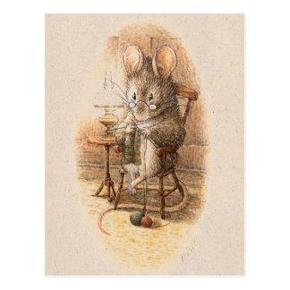 Mrs. Dormouse Knitting Postcard