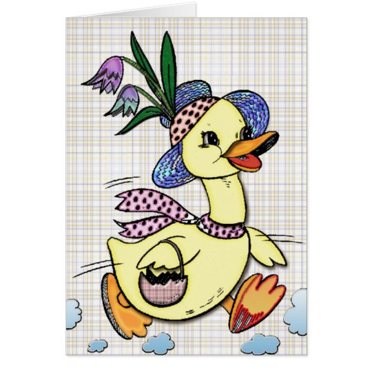 Mrs. Duck and her Easter Hat Cartoon Card