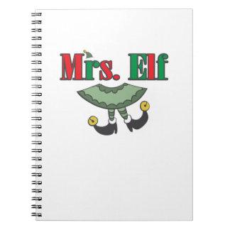 Mrs. Elf Matching Couple Christmas Notebook