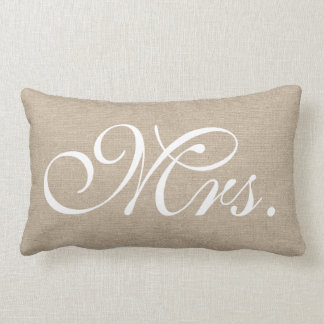 Mrs. faux linen burlap rustic chic initial jute lumbar pillow