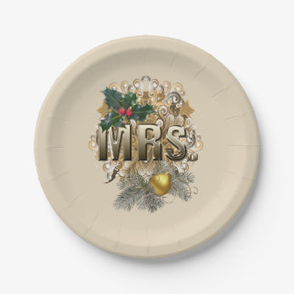 MRS. First Christmas Paper Plate