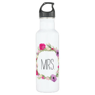 Mrs. Floral Wreath Watercolor 710 Ml Water Bottle