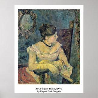 Mrs.Gauguin Evening Dress By Eugene Paul Gauguin Poster