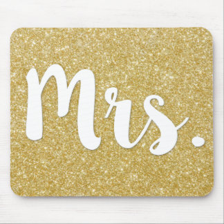 Mrs. Gold Glitter Mouse pad for wife