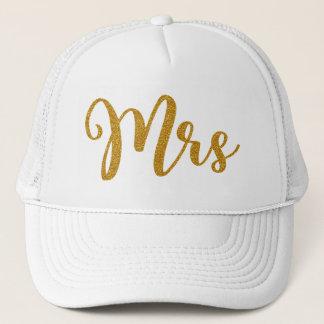 Mrs Gold Glitter Typography Trucker Hat