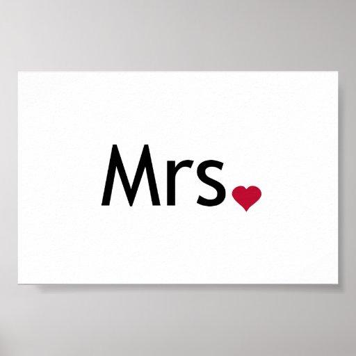 Mrs  - half of Mr and Mrs set Print