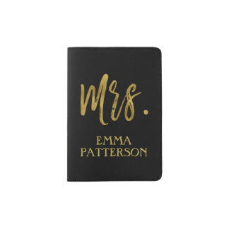 Mrs. Last Name Typography Passport Holder