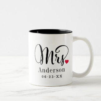 Mrs. Married Name | Wedding Gift Two-Tone Coffee Mug