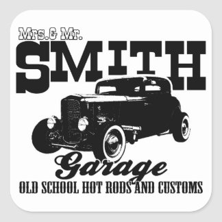 Mrs.& Mr. Smith Hot-Rod Garage Square Sticker