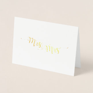 Mrs. & Mrs. Etched Gold Foil Greeting Card