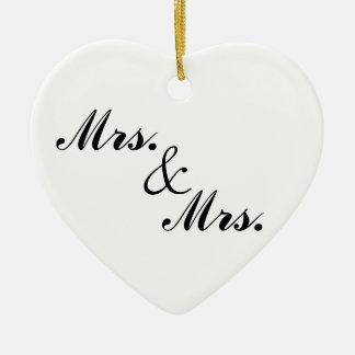 Mrs. & Mrs. Heart-Shaped Christmas Ornament