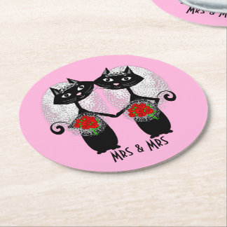 Mrs & Mrs Lesbian Couple Personalized Wedding Round Paper Coaster