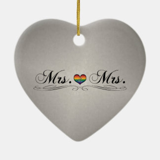 Mrs. & Mrs. Lesbian Design Ceramic Ornament