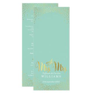 MRS & MRS RECEPTION DINNER MENU gold confetti mint Card