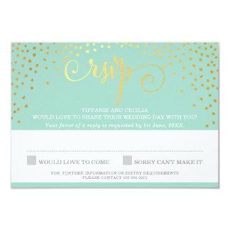 MRS & MRS RSVP REPLY stylish gold confetti mint Card