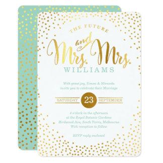 MRS & MRS STYLISH GLAM WEDDING gold confetti mint Card