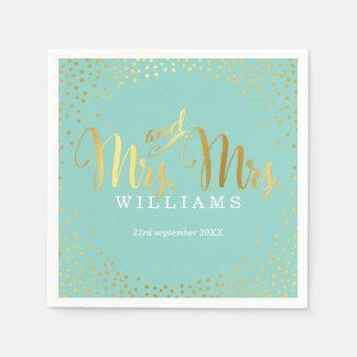 MRS & MRS STYLISH WEDDING TABLE confetti gold mint Disposable Serviette