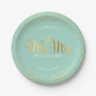 MRS & MRS STYLISH WEDDING TABLE confetti gold mint Paper Plate