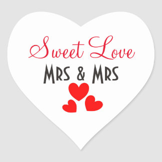 Mrs + Mrs Sweet Love Red Hearts Personalized Heart Sticker