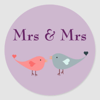 Mrs & Mrs (wedding) Classic Round Sticker