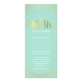 MRS & MRS WEDDING PROGRAM glam gold confetti mint