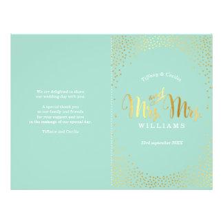 MRS & MRS WEDDING PROGRAM gold confetti mint Flyer