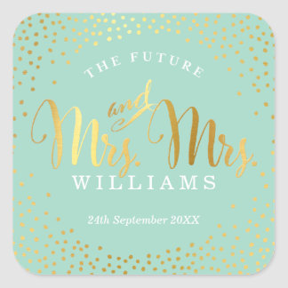 MRS & MRS WEDDING SEAL stylish gold confetti mint