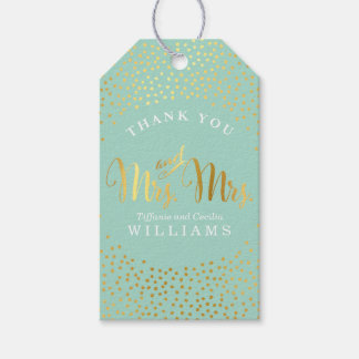 MRS & MRS WEDDING THANK YOU gold confetti mint Gift Tags