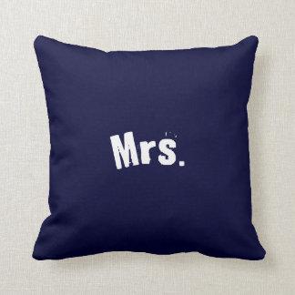 Mrs. Navy Blue Accent Pillow