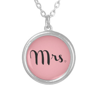 Mrs. Necklace Black On Pink Custom Jewelry
