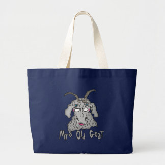 Mrs Old Goat Funny Cartoon Large Tote Bag