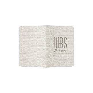 """""""Mrs"""" Passport Holder, Off White, Gold Lettering"""