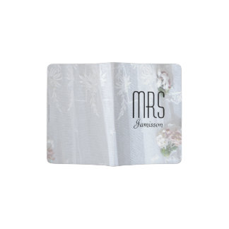 """Mrs"" Passport Holder, Vintage Lace Wedding Dress Passport Holder"