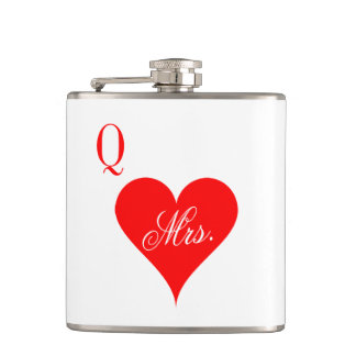 Mrs Queen of hearts wedding flask for wife