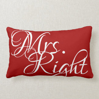 Mrs Right Red Solids Lumbar and Throw Pillows