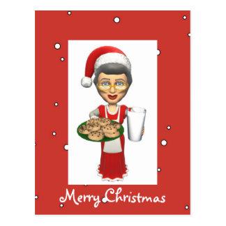 Mrs Santa Cookies Milk Postcard