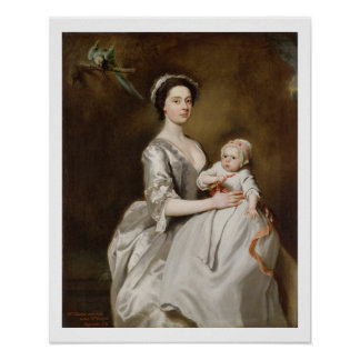 Mrs Sharpe and Child, 1731 (oil on canvas) Print