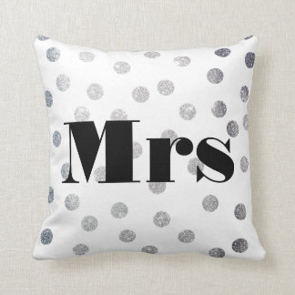 Mrs Silver Glitter Dots Reversible Black and White Cushion