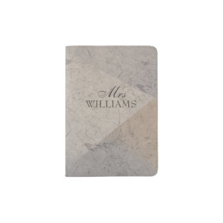 Mrs Typography Monogrammed Marble Passport Holder