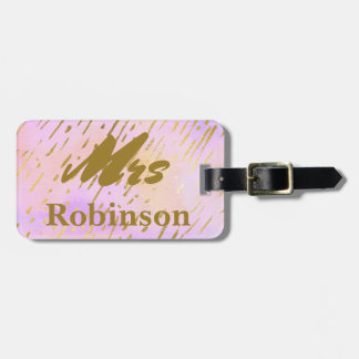 Mrs Typography Pink and Gold Luggage Tag