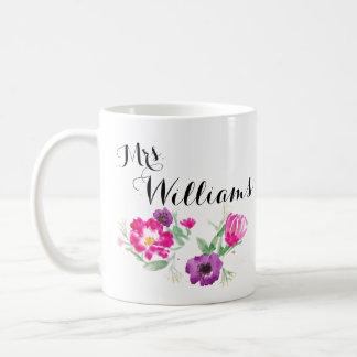Mrs. Watercolor Flowers Mug