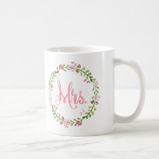 Mrs. Watercolor Wreath Mug