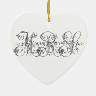 MRS Wedding Monogram Ceramic Heart Decoration