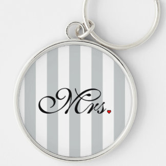 Mrs. Wife Bride Click to Customize Color Stripes Silver-Colored Round Key Ring