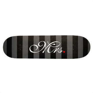 Mrs. Wife Bride His Hers Newly Weds Skateboard